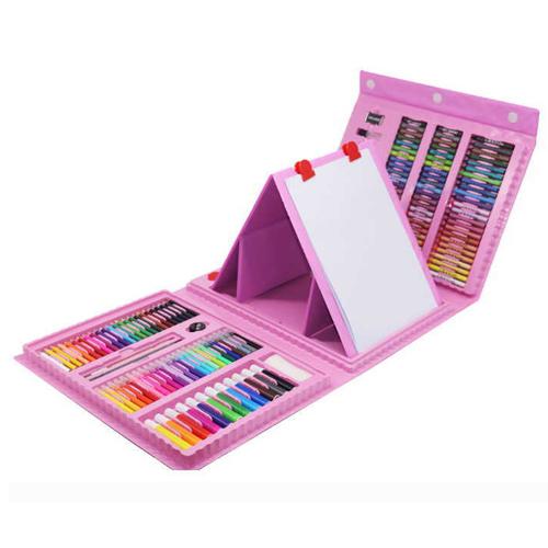 Набор для рисования со складным мольбертом в чемоданчике, 208 предметов, цвет - розовый.