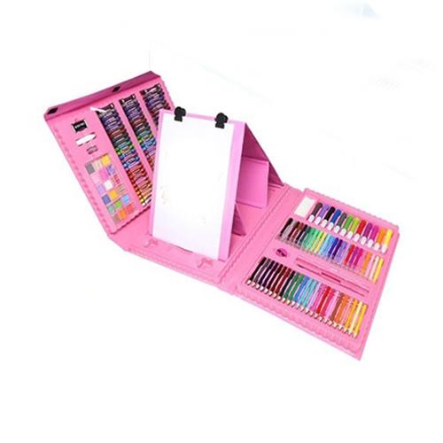 Набор для рисования со складным мольбертом в чемоданчике, 176 предметов, цвет - розовый.