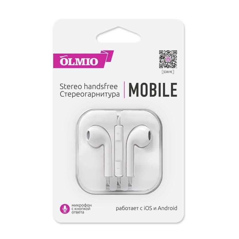 """Наушники внутриканальные """"Mobile"""" 3.5 с микрофоном и кнопкой ответа, OLMIO"""