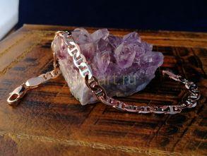 """Позолоченный двухтонный браслет, плетение """"маринер"""", 6 мм (арт. 250211)"""