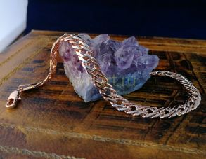Позолоченный браслет, плетение двойной ромб, 7 мм (арт. 250213)
