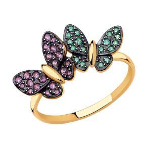 """Кольцо из золота """"Бабочки"""" с фианитами 018406 SOKOLOV"""