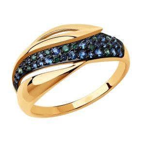 Кольцо из золота c синими и зелёными фианитами 018414 SOKOLOV