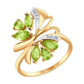 Кольцо из золота с хризолитами и фианитами 714738 SOKOLOV