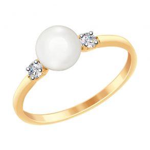 Кольцо из золота с жемчугом и фианитами 791053 SOKOLOV