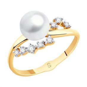 Кольцо из золота с жемчугом и фианитами 791119 SOKOLOV