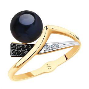 Кольцо из золота с чёрным жемчугом и фианитами 791141 SOKOLOV