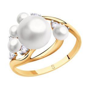 Кольцо из золота с жемчугом и фианитами 791154 SOKOLOV
