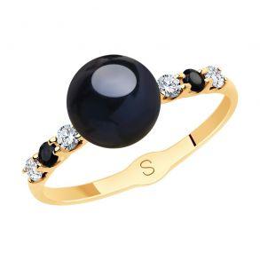 Кольцо из золота с чёрным жемчугом и фианитами 791157 SOKOLOV