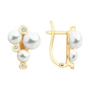 Серьги из золота с жемчугом и фианитами 792122 SOKOLOV