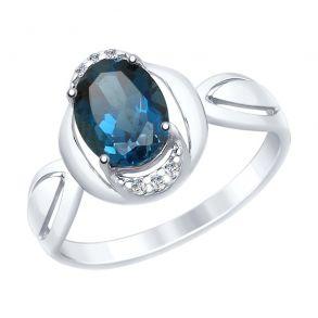 Кольцо из серебра с синим топазом и фианитами 92011559 SOKOLOV