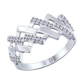 Кольцо из серебра с фианитами 94012538 SOKOLOV