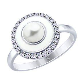 Кольцо из серебра с эмалью и жемчугом и фианитами 94012663 SOKOLOV