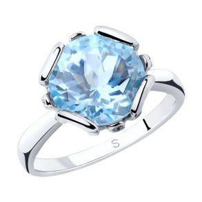 Кольцо из серебра с топазом и фианитами 92011761 SOKOLOV