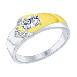 Кольцо из золочёного серебра с фианитами 94012374 SOKOLOV