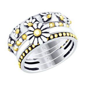Кольцо из золочёного серебра 95010113 SOKOLOV