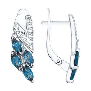 Серьги из серебра с синими топазами и фианитами 92021757 SOKOLOV