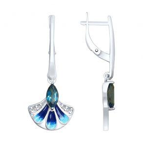 Серьги из серебра с эмалью и синими топазами и фианитами 92021955 SOKOLOV