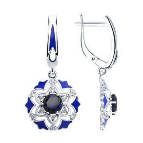 Серьги из серебра с эмалью и синими корундами и фианитами 92022058 SOKOLOV