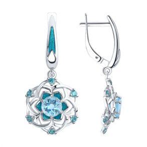 Серьги из серебра с эмалью и топазами и фианитами 92022061 SOKOLOV