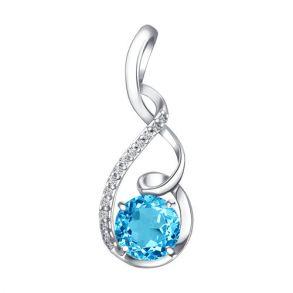 Подвеска из серебра с голубым топазом и фианитами 92030134 SOKOLOV