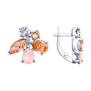 Серьги из серебра с розовыми кристаллами Swarovski 94023068 SOKOLOV