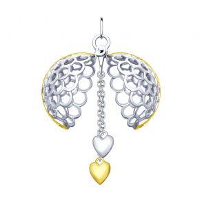 Раскрывающаяся серебряная подвеска «Два сердца» 94032083 SOKOLOV