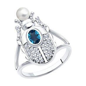 Кольцо из серебра с жемчугом Swarovski, кристаллом Swarovski и фианитами 94013130 SOKOLOV
