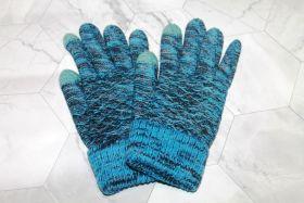 Вязаные шерстяные женские и подростковые сенсорные перчатки голубые