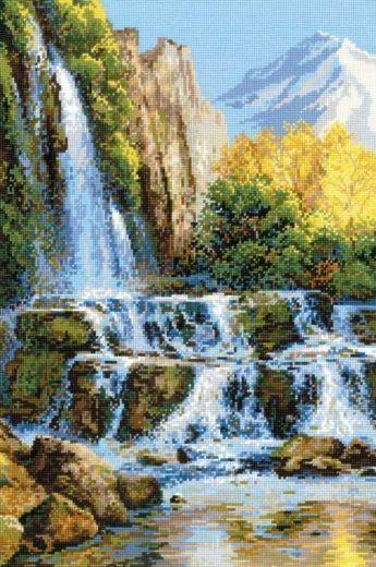 Набор для вышивания крестом Пейзаж с водопадом №1194 фирма Риолис