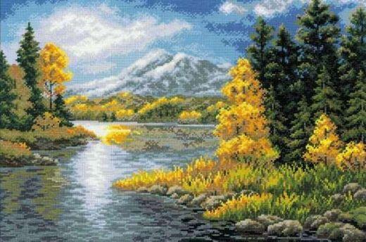 Набор для вышивания крестом Озеро в горах №1235 фирма Риолис