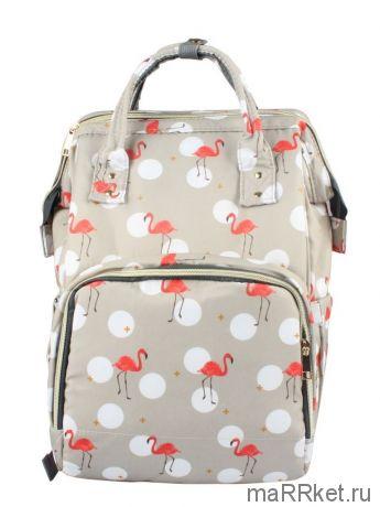 Сумка-рюкзак для мамы Mummy Bag Фламинго (серый)