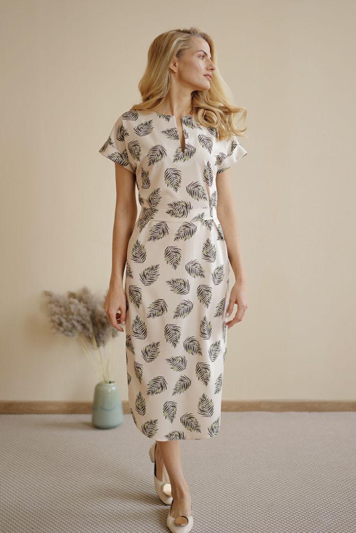 s1521 Платье с вырезом с флористическим принтом (листья)