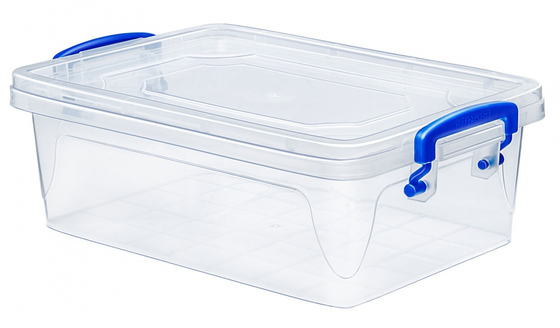 Контейнер для хранения Эльфпласт Fresh Box slim 0,6 литра прозрачный/синий с крышкой 17х11х6,5 см