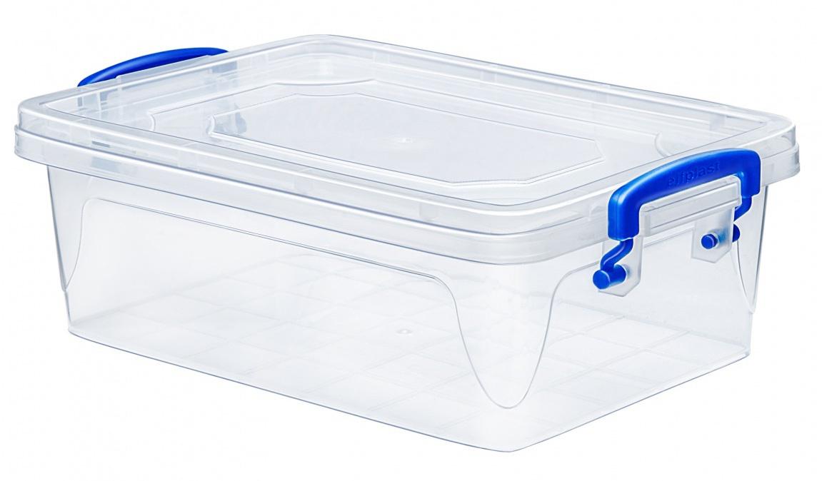 Контейнер для хранения Эльфпласт Fresh Box slim 2 литра прозрачный/синий с крышкой 25,5х17,3х8,5 см
