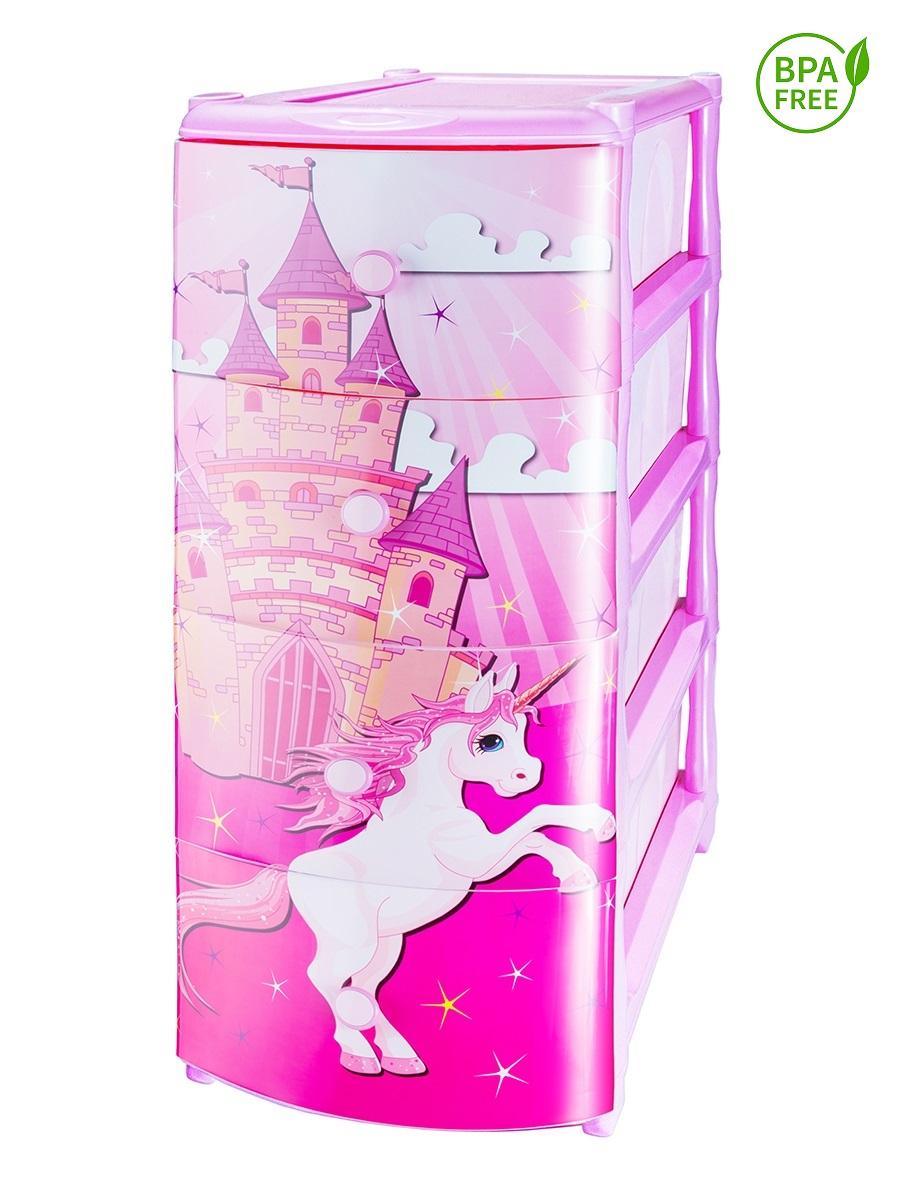 Комод детский для девочки с рисунком №5 Замок единорога 4-х секционный розовый из пластика Эльфпласт 40х48х98 см