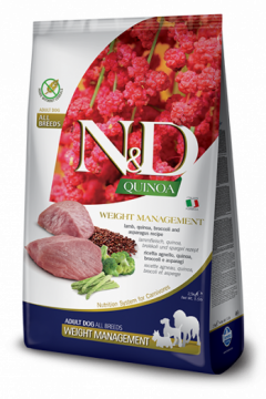 N&D Dog Quinoa Weight Management Lamb Adult (ягненок+киноа, брокколи и спаржа. Контроль Веса)