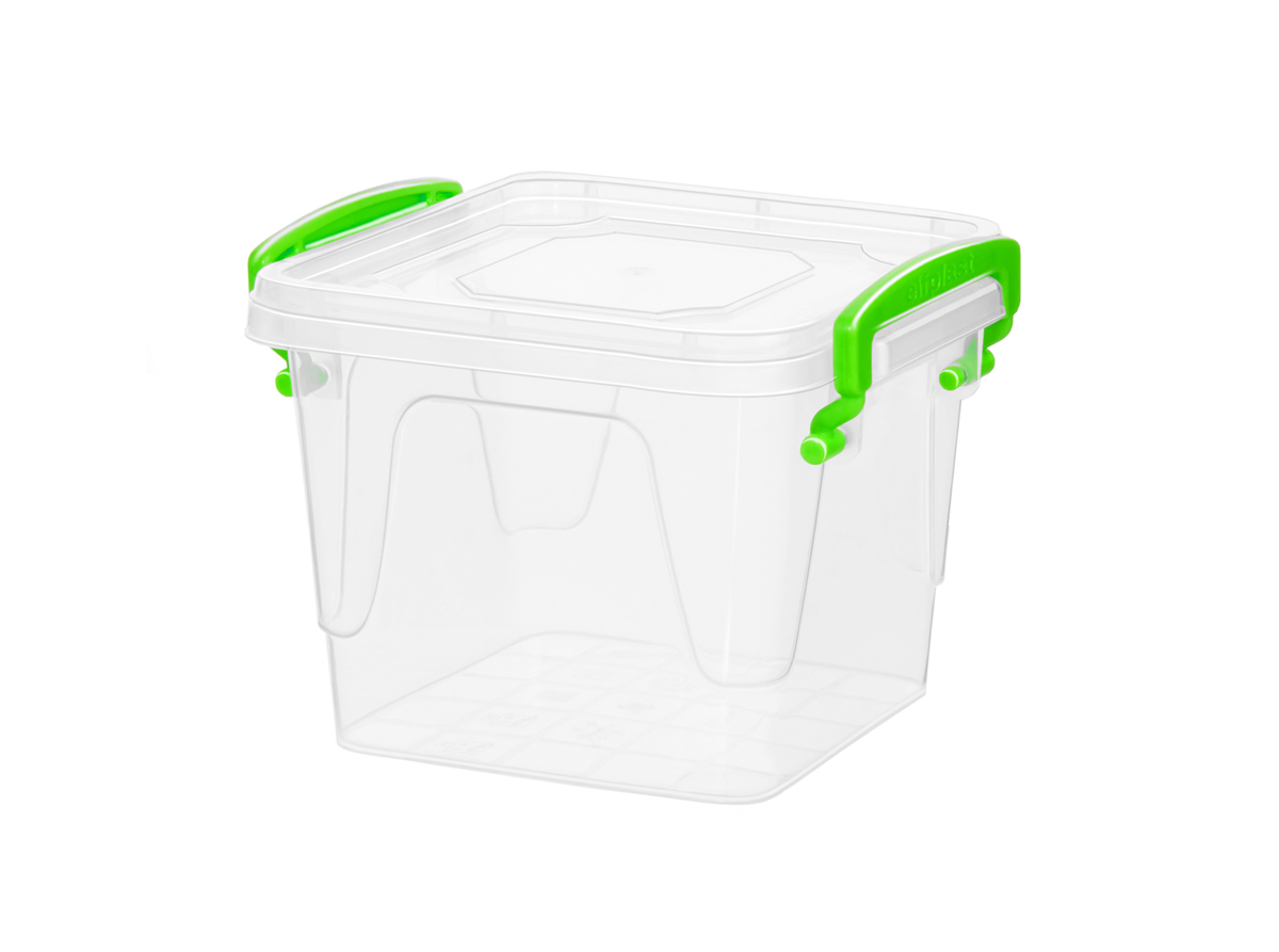 Контейнер для хранения Fresh Box 3,7 литра квадратный с крышкой прозрачный/салатовый Эльфпласт 18,6х20х18 см