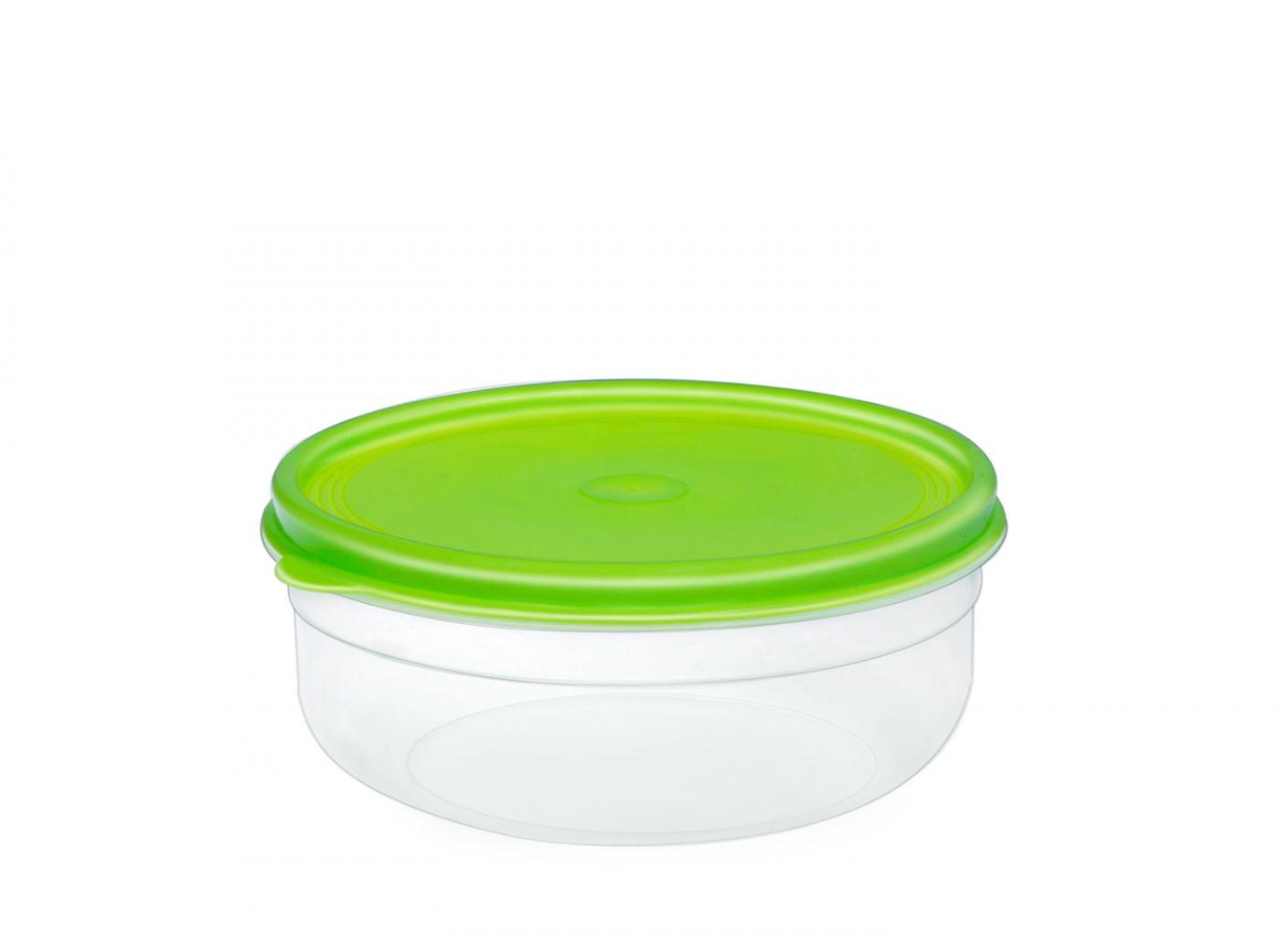Бутербродница круглая 1 литр Эльфпласт контейнер для хранения еды с салатовой крышкой 16,5 см