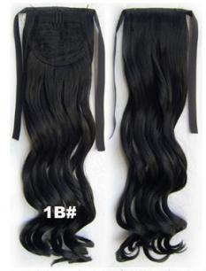 Искусственные термостойкие волосы - хвост волнистые №001B (55 см) -  80 гр.