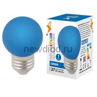 "Лампа декоративная светодиодная LED-G45-1W/BLUE/E27/FR/С Ф ""шар"" матовая. Цвет синий ТМ Volpe"