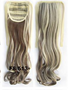 Искусственные термостойкие волосы - хвост волнистые №F8/613 (55 см) -  80 гр.