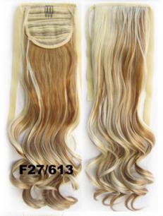 Искусственные термостойкие волосы - хвост волнистые №F27/613 (55 см) -  80 гр.