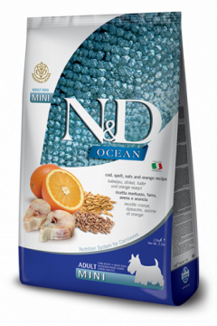 N&D Ocean Codfish, Spelt, Oats & Orange mini adult (треска с пшеницей, овсом и апельсином для собак мелких пород)
