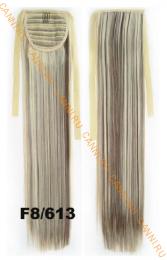 Искусственные термостойкие волосы - хвост прямые №F8/613 (55 см) -  80 гр.