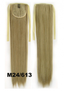 Искусственные термостойкие волосы - хвост прямые №M24/613 (55 см) -  80 гр.