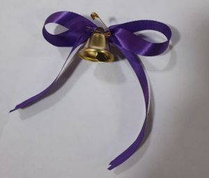 Колокольчик золотой с булавкой и лентой Фиолетовый, 26мм х 30мм