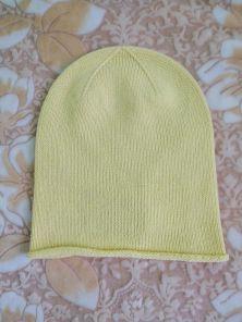 """Кашемировая мягкая классическая тонкая шапка-бини """"Джерси"""",  цвет светлый лимонный. Jersey Hat PALE LEMON"""
