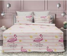 Постельное белье Сатин Солнечный фламинго 1.5-спальный Арт.1743-1