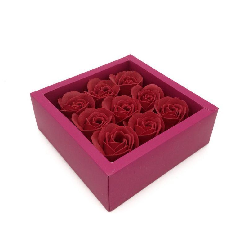 Мыльные розы в коробке 9 шт (цвет красный)